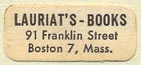 Lauriat's Books, Boston, Massachusetts (22mm x 10mm)
