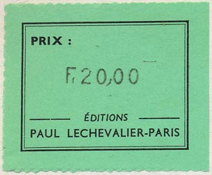 Éditions Paul Lechevalier, Paris, France (49mm x 40mm, ca.1964)