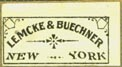 Lemcke & Buechner, New York (20mm x 11mm, ca.1892?)
