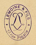 Lemoine & Fils, Paris & Brussels (inkstamp, 16mm x 21mm, ca.1885)