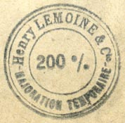 Henry Lemoine, Paris & Brussels (inkstamp, 28mm dia., after 1909)