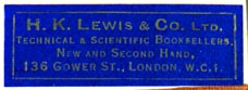 H.K. Lewis & Co., London, England (37mm x 13mm, ca.1933)