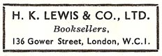 H.K. Lewis & Co., London, England (42mm x 15mm)
