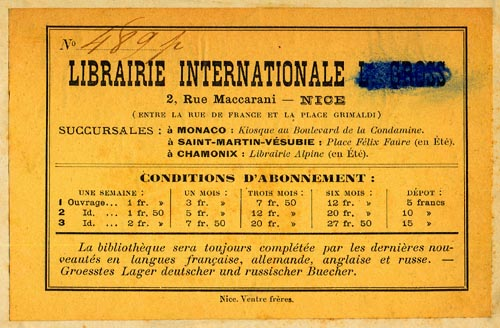 Librairie Internationale, Nice, France (124mm x 79mm, before 1910)