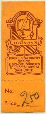 Lindsay's, Books, Stationery, Office & School Supplies, San Jose, California (25mm x 65mm, with tear-off)