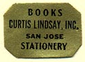 Curtis Lindsay, Books & Stationery, San Jose, California (19mm x 14mm)