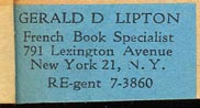 Gerald D. Lipton, French Book Specialist, New York (31mm x 15mm, ca.1944)