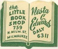 The Little Book Shop -- Nesta C. Edwards, Milwaukee, Wisconsin (approx 32mm x 27mm)