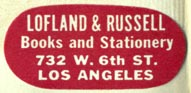Lofland & Russell, Books and Stationery, Los Angeles (30mm x 14mm)