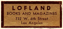 Lofland, Books and Magazines, Los Angeles, California (42mm x 19mm)