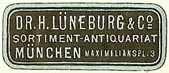 H. Lüneburg & Co., Sortiment - Antiquariat, Munich, Germany (27mm x 11mm)