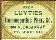 Luyties Homoeopathic Pharm. Co., St. Louis, Missouri (32mm x 23mm, ca.1886). Courtesy of R. Behra.