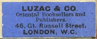 Luzac & Co., Oriental Booksellers and Publishers, London, England (32mm x 12mm, ca.1924)