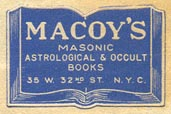 Macoy's, Masonic, Astrological & Occult Books, New York, NY (27mm x 18mm, ca.1940s).
