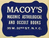 Macoy's, Masonic, Astrological & Occult Books, New York, NY (27mm x 21mm, ca.1940s).