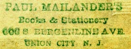 Paul Mailander, Books & Stationery, Union City, New Jersey (43mm x 15mm)