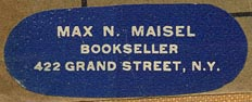Max N. Maisel, Bookseller, New York, NY (38mm x 14mm, before 1948)