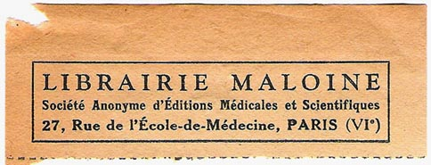 Librairie Maloine, Paris, France (80mm x 30mm, ca.1940?)