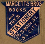 Margetts Bros, Stationers, Salt Lake City, Utah  (25mm x 25mm, ca.1889)
