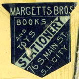 Margetts Bros, Stationers, Salt Lake City, Utah  (25mm x 25mm, ca.1891)