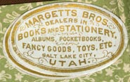 Margetts Bros, Stationers, Salt Lake City, Utah  (29mm x 19mm, ca.1880s)