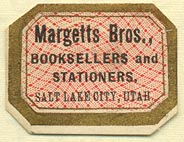 Margetts Bros., Booksellers and Stationers, SLC, Utah (29mm x 22mm)