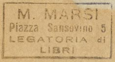 M. Marsi, Legatoria di Libri, Piazza Sansovino 5 (38mm x 20mm, before 1954)