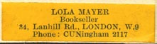 Lola Mayer, Bookseller, London, England (37mm x 9mm)
