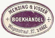 Mensing & Visser, Boekhandel, The Hague, Netherlands (approx 30mm x 20mm, ca.1910)