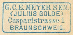 G.C.E. Meyer (Julius Golde), Braunschweig [Germany] (38mm x 17mm)