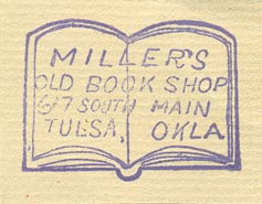 Miller's Old Book Shop, Tulsa, Oklahoma (inkstamp, 33mm x 25mm)