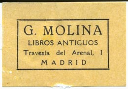 G. Molina, Libros Antiguos, Madrid (42mm x 29mm, ca.1968)
