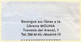 Libreria Molina, Madrid (54mm x 28mm, ca.1966)