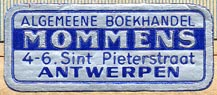 Mommens, Algemeene Boekhandel, Antwerp, The Netherlands (35mm x 15mm, ca.1955)