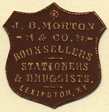 J.B. Morton & Co., Booksellers, Stationers & Druggists, Lexington, Kentucky (36mm x 36mm)
