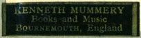Kenneth Mummery, Books and Music, Bournemouth, England (33mm x 8mm)