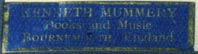 Kenneth Mummery, Books and Music, Bournemouth, England (32mm x 9mm)