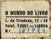O Mundo do Livro, Lisbon [Portugal] (28mm x 20mm, ca.1960s?)