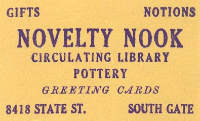 Novelty Nook, South Gate, California (inkstamp, 62mm x 35mm)