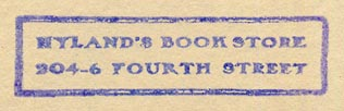 Nyland's Book Store, s.l. (inkstamp, 49mm x 13mm).