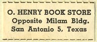 O. Henry Book Store, San Antonio, Texas (31mm x 13mm). Courtesy of Donald Francis.
