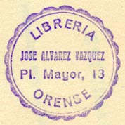 Libreria Orense -- Jose Alvarez Vazquez, Orense ?, Spain (28mm dia., ca.1967). Courtesy of Robert Behra.