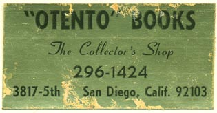 Otento Books, San Diego, California (51mm x 26mm). Courtesy of Donald Francis.
