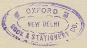 Oxford Book & Stationery Co., New Delhi, India (28mm x 15mm, ca.1960s).