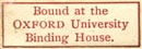 Oxford University Binding House, Oxford, England (21mm x 7mm). Courtesy of Robert Behra.