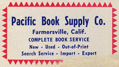 Pacific Book Supply Co., Farmersville, California.