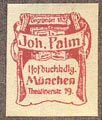 Johannes Palm, Hofbuchhandlung, Munich, Germany (15mm x 19mm, ca.1905).