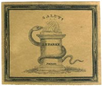 J.P. Parke, Medical Books, Philadelphia, Pennsylvania (32mm x 27mm, ca.1840?). Courtesy of Lewis Jaffe.