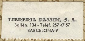 Libreria Passim, Barcelona, Spain (44mm x 20mm, before 1968).