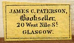 James C. Paterson, Bookseller, Glasgow, Scotland (27mm x 10mm).